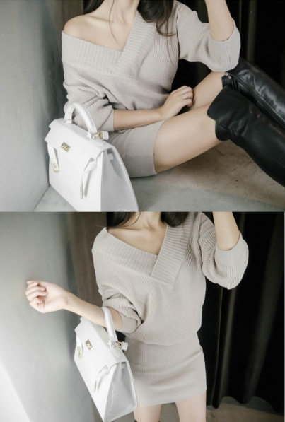 v knit dress (3 color)