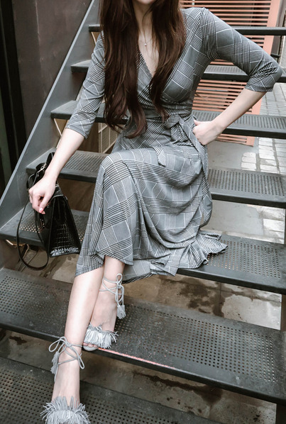 CD dress-413 (check long wrap dress)
