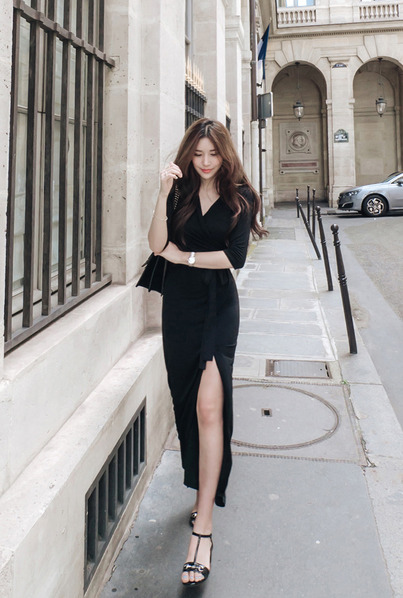CD dress-416 (black long wrap dress)